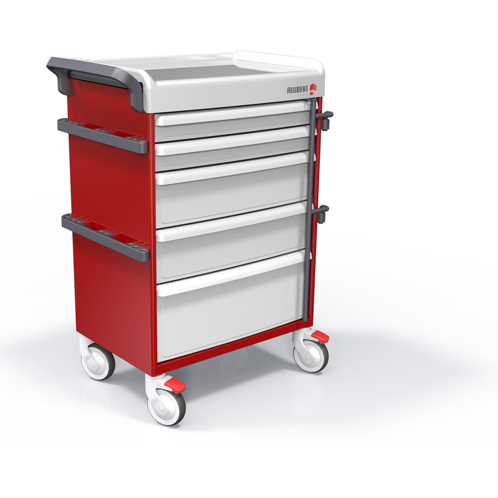 Crash cart with central locking bar and seal system (standard equipment)