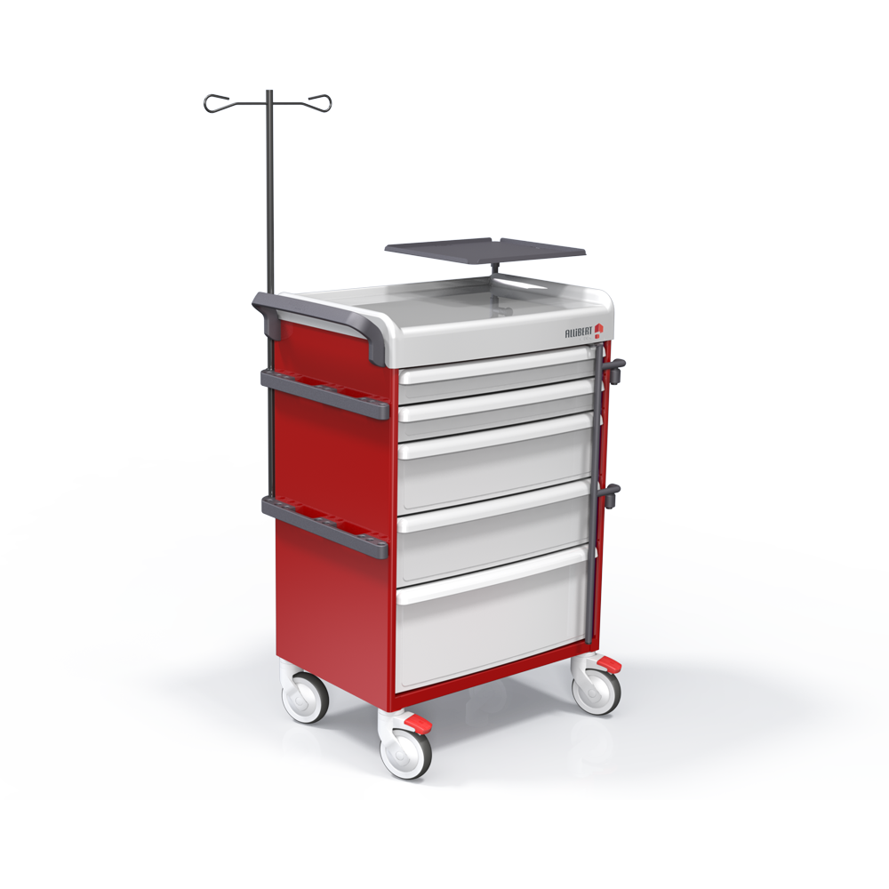 Crash cart with central locking bar and seal system (full equipment)